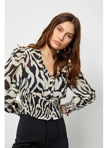 Setre Siyah-Beyaz Modal Rayon V Yaka Zebra Bluz Siyah